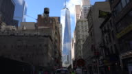 Water tower and Freedom Tower building on Manhattan Street