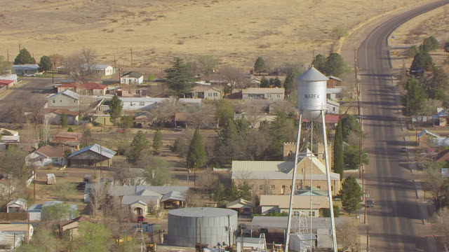 MS AERIAL ZO Water tower and town / Marfa, Texas, United States