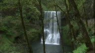 Water tumbles over the Lower South Falls in Silver Falls State Park, Oregon.