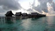 Water village at sunrise