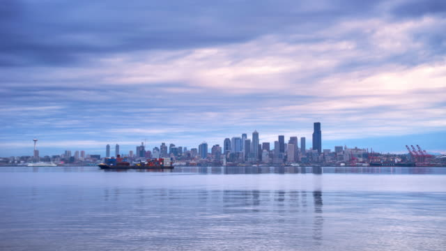 water,cityscape and skyline in seattle. timelapse 4k