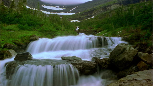 A waterfall cascades over rocks in Glacier National Park, Montana