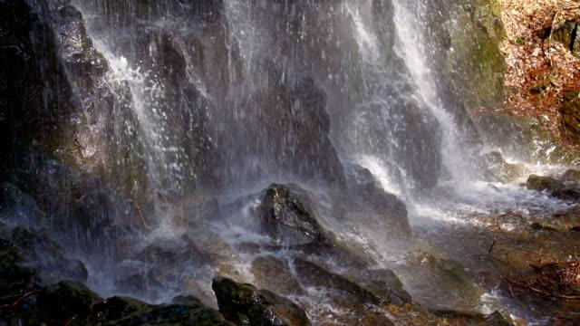 SLO MO Waterfall crashing against rocks