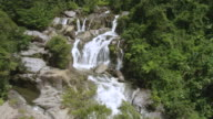 WS AERIAL POV Waterfall falling in forest area on mountain, part of Rio Prieto / Naguabo, Puerto Rico, United States