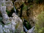 Waterfall high angle, Autumn, Parque Natural Los Alcornocales, Andalusia, Southern Spain