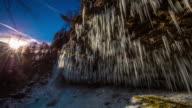 T/L-Wasserfall in Julianische Alpen im Sonnenaufgang