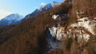 AERIAL Waterfall in Julian Alps