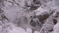Waterfall in snowy forest, Yellowstone, USA
