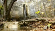 waterfall in the autumn forest  (slow motion)
