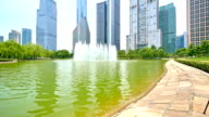 water,fountain and  reflection of modern building in  shanghai time lapse 4k