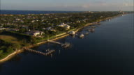 AERIAL Waterfront homes and yachts at Palm Beach, Florida, USA
