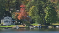 AERIAL Waterfront shoreline with summer houses, docks and pleasure boats, and trees with fall colors / Otis, Massachusetts, United States