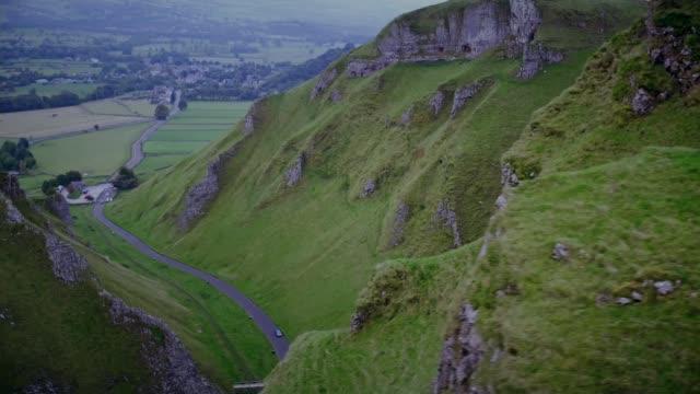 Waterlicht installation in Peak District ENGLAND Derbyshire EXT Drone Aerials of Winnats Pass