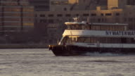 NY Waterway Ferry Going Along the Hudson in the Morning
