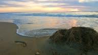 Golven op het strand van Lit-et-Mixe, zonsondergang