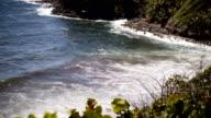 Waves Crashing at Tropical Island