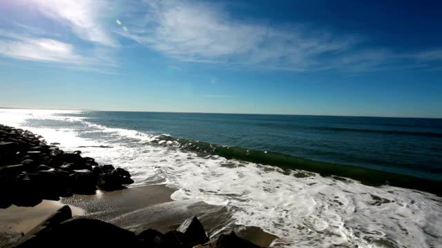 waves crashing on the dark rocks