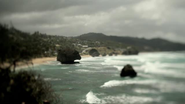 WS SELECTIVE FOCUS Waves on beach / Bathsheba, St Joseph, Barbados