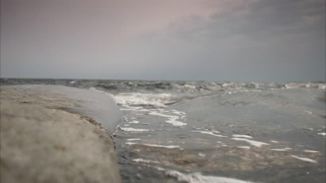 Waves on shore Stockholm archipelago Sweden.
