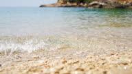 HD SUPER SLOW MO: Waves Splashing Pebble Beach