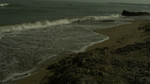 SLO MO waves washing up small bits of driftwood, Spain