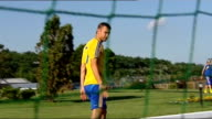Wayne Rooney returns to England team Location unknown Ukraine football team training on pitch Andriy Shevchenko along on pitch and asked about knee...