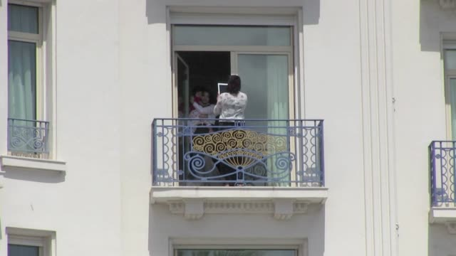 We spotted the India actress Aishwarya Rai and her baby posing at the balcony of their room at the Martinez Hotel in Cannes France Cannes France on...