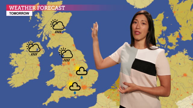 Weather forecast in a green screen studio