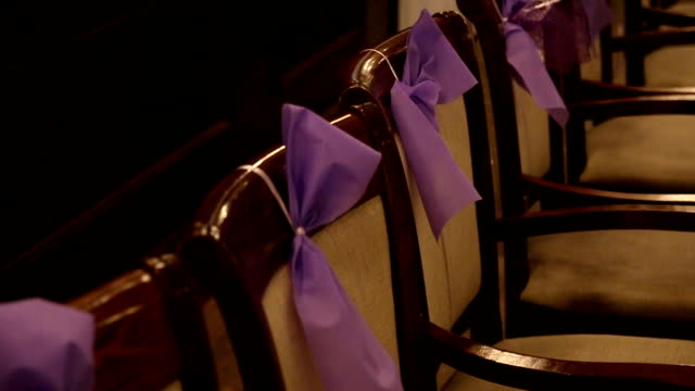 Wedding chairs with decorations