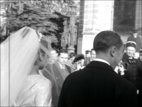 Wedding of Princess Helene of France to Comte Evrard LimburgStirum FRANCE Normandy Chapelle royale SaintLouis de Dreux EXT Various shots father of...
