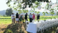 R/F WS Wedding party having appetizers and drinks beside banquet table in field under tree/Washington, USA