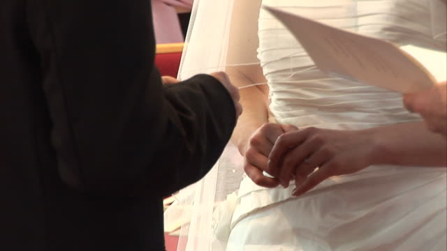 Wedding Ring is placed on Bride's finger during Vows ceremony