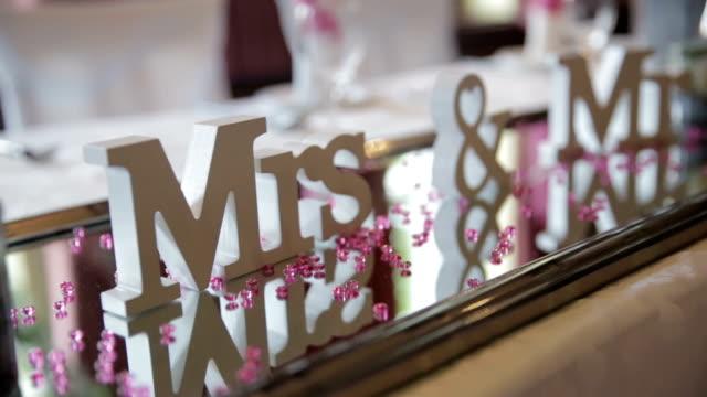 Wedding table decoration, Mr & Mrs