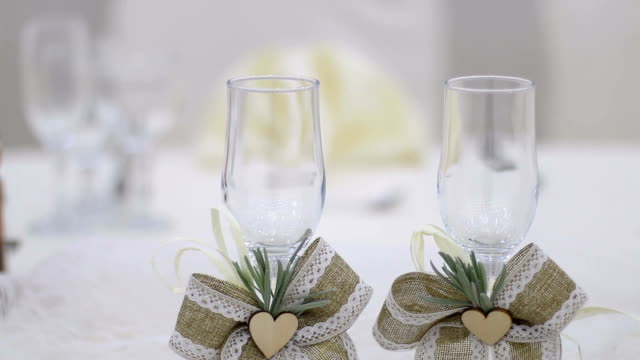 Wedding wine glasses on a table