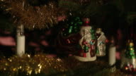 A well decorated Christmas tree, close-up.