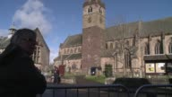Well wishers line the streets of Dunblane in Scotland as tennis star Andy Murray prepares to marry his girlfriend Kim Sears in a cathedral in his...