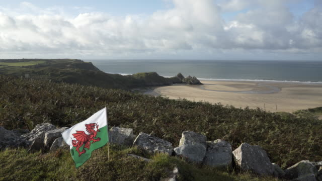 A welsh Dragon Flag blowing in the wind