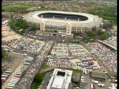 Wembley stadium including Twin Towers packed car parks and surrounding area Everton vs Liverpool 1986 FA Cup Final Wembley London