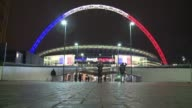 Wembley stadium is lit up with the colours of the French flag ahead of the friendly game that will oppose England and France on Tuesday four days on...