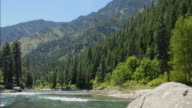 T/L, WS, Wenatchee River surrounded with hills, Wenatchee Vicinity, Washington, USA