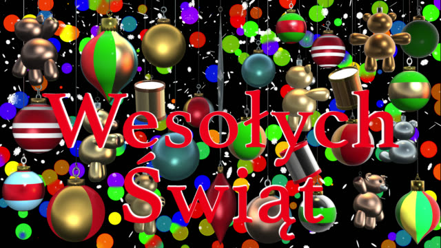 Wesołych Świąt Polish greeting with Christmas decorations and alpha channel