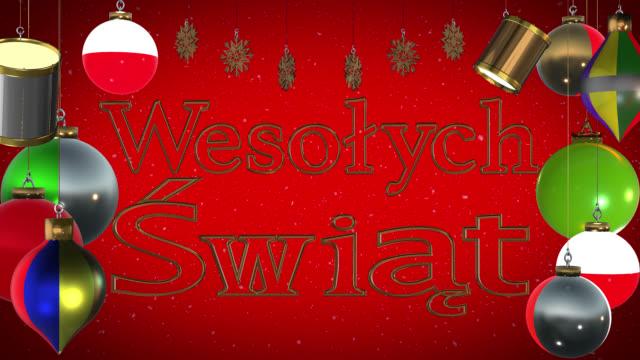 Wesołych Świąt Polish greeting with Christmas decorations and snow