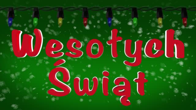 Wesołych Świąt Polish greeting with Christmas lights and snow background
