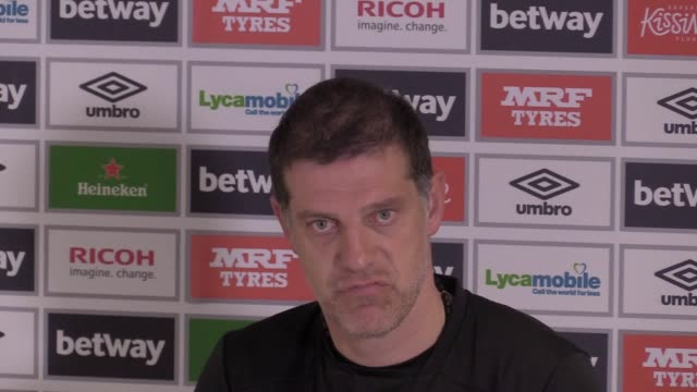 West Ham manager Slaven Bilic gives a press conference ahead of the team's Premier League match against Burnley