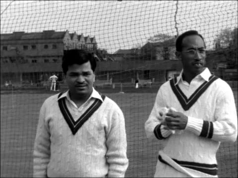 West Indies cricketers practice at Lords ENGLAND London Lords EXT West Indies batsman batting in the nets / West Indies Captain John Goddard standing...