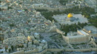 AERIAL ZI Western Wall and Dome of the Rock in old city / Jerusalem, Israel