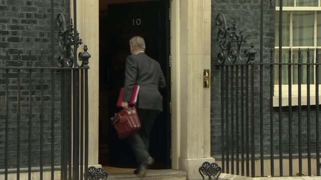London Downing Street EXT Boris Johnson MP arriving at Number 10 for Cabinet meeting as press shout out questions SOT Michael Gove MP arriving at...