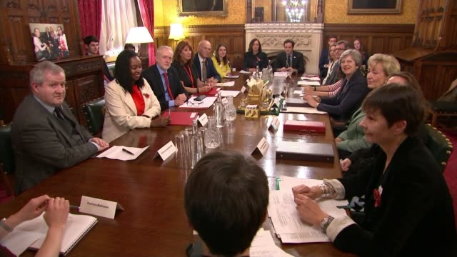 All party meeting agrees on new safeguards in Parliament ENGLAND London Westminster PHOTOGRAPHY** Party leaders and representitives sat around table...