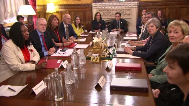 All party meeting photocall ENGLAND London Westminster PHOTOGRAPHY*** Party leaders and representatives around table for meeting about the...
