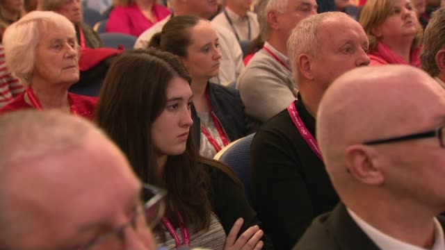 Further allegations emerge Lancashire Blackpool INT Jeremy Corbyn cutout at Labour Party event PAN attendees People seated in audience John McDonnell...